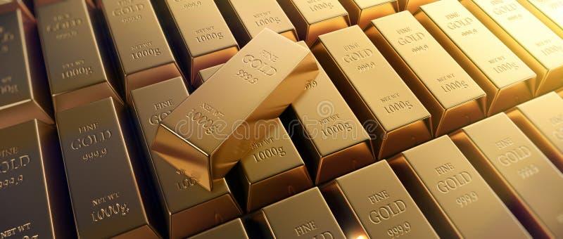 Chiuda su delle barre di oro fini multiple illustrazione di stock