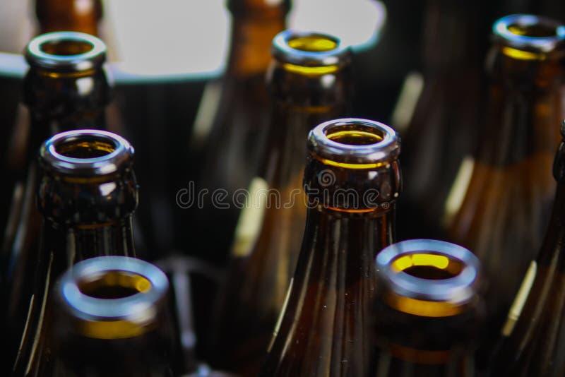 Chiuda su delle bottiglie di birra vuote marroni in un caso fotografie stock