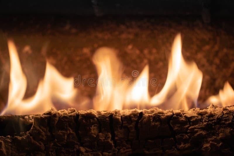 Chiuda su delle fiamme brucianti del fuoco del ceppo di legno nell'orario invernale immagine stock