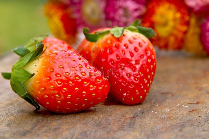 Chiuda su delle fragole fresche sulla tavola immagini stock