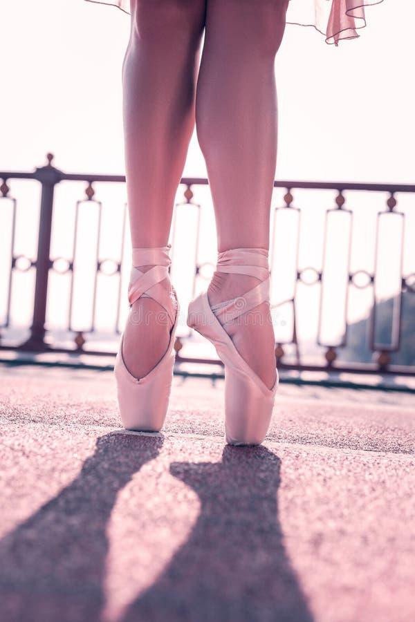 Chiuda su delle gambe professionali dei ballerini di balletto immagine stock libera da diritti