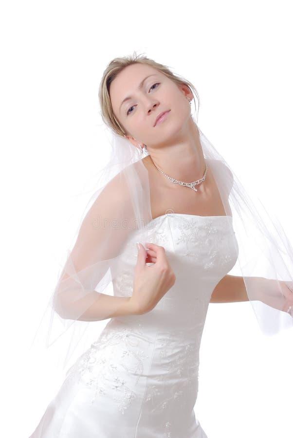 Chiuda in su di bella sposa. fotografia stock libera da diritti