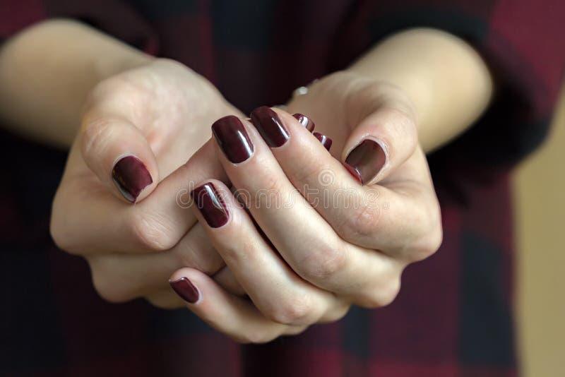 Chiuda su di dare le mani femminili fotografie stock