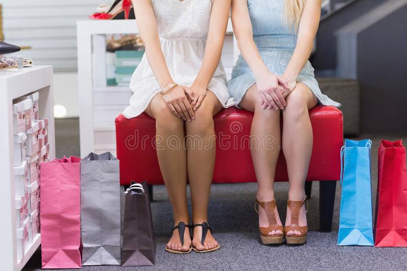 Chiuda su di due donne che si siedono con i sacchetti della spesa immagini stock