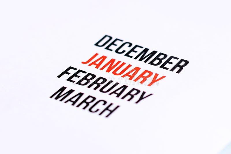 Chiuda su di gennaio fotografia stock