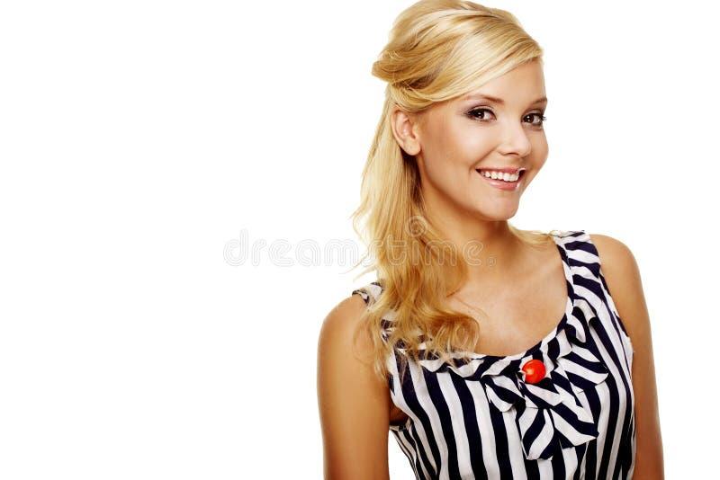 Chiuda in su di giovane signora sorridente di affari immagini stock libere da diritti
