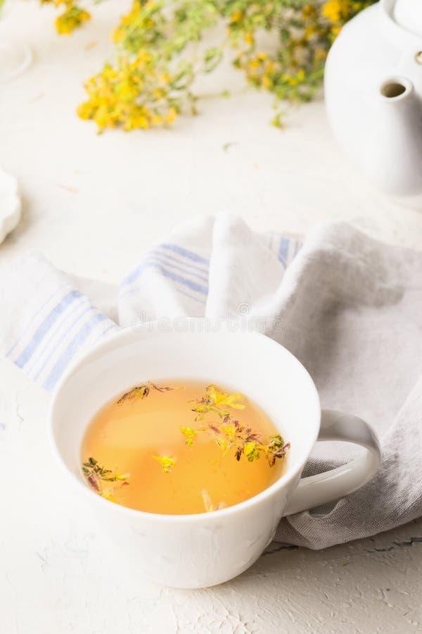 Chiuda su di tisana gialla in tazza bianca Il perforatum di erbe di Medicine Integratore alimentare naturale tè del San-John's-mo fotografia stock libera da diritti