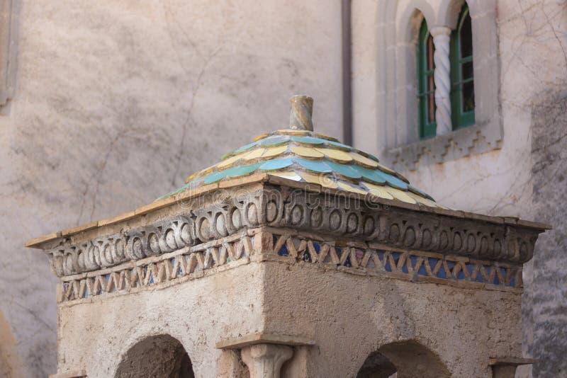 Chiuda su di un dettaglio della villa Cimbrone sulla costa di Amalfi immagini stock libere da diritti