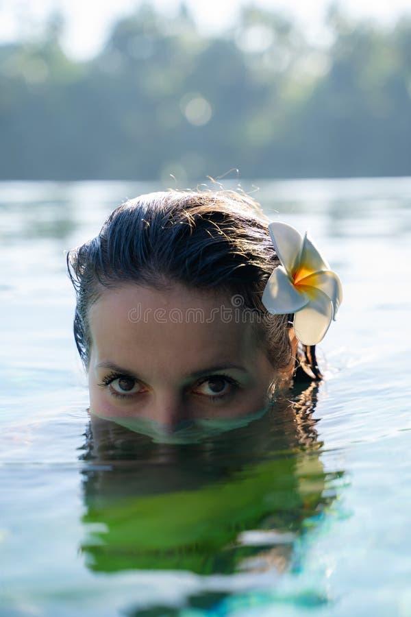Chiuda su di un fronte di modello femminile, della metà nell'acqua di uno stagno con un fiore tropicale in per sentire e delle gi immagine stock