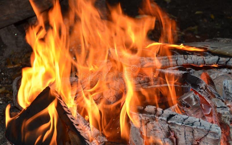 Chiuda in su di un fuoco di accampamento fotografie stock