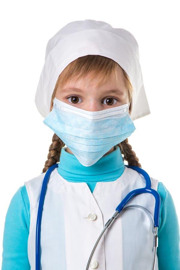 Chiuda su di un medico femminile o l'infermiere isolato su fondo bianco, modello è una donna caucasica fotografie stock libere da diritti