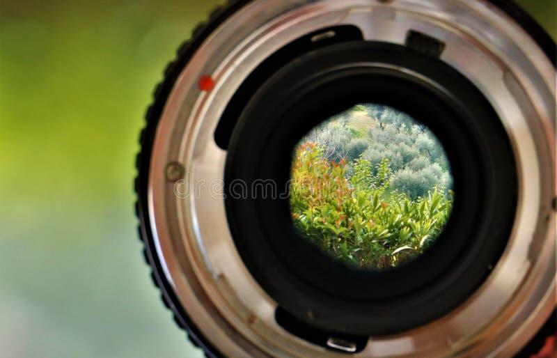 Chiuda su di una macchina fotografica analogica con la lente fotografie stock