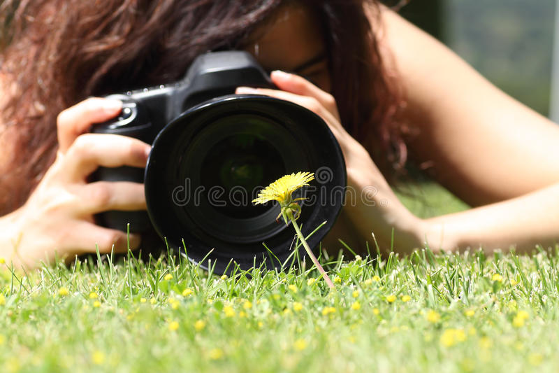Chiuda su di una ragazza graziosa che prende una fotografia di un fiore sull'erba fotografia stock libera da diritti