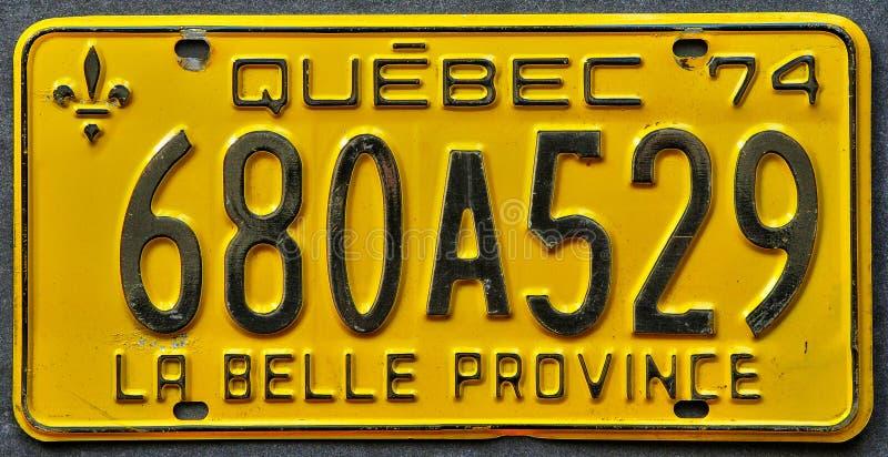 Chiuda su di una targa di immatricolazione della Quebec immagine stock libera da diritti