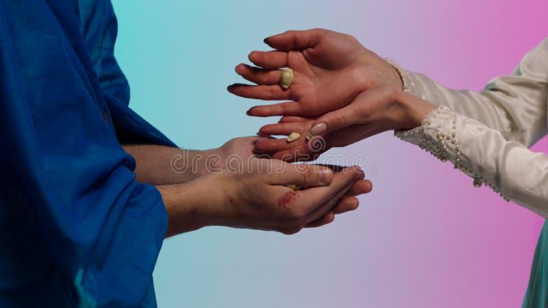 Chiuda su per le mani orientali della giovane donna che danno molte piccole conchiglie alle mani dell'uomo, concetto di baratto a fotografie stock