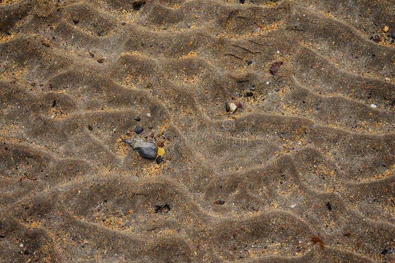 Chiuda su sulla sabbia sulla spiaggia in Irlanda del Nord immagini stock libere da diritti