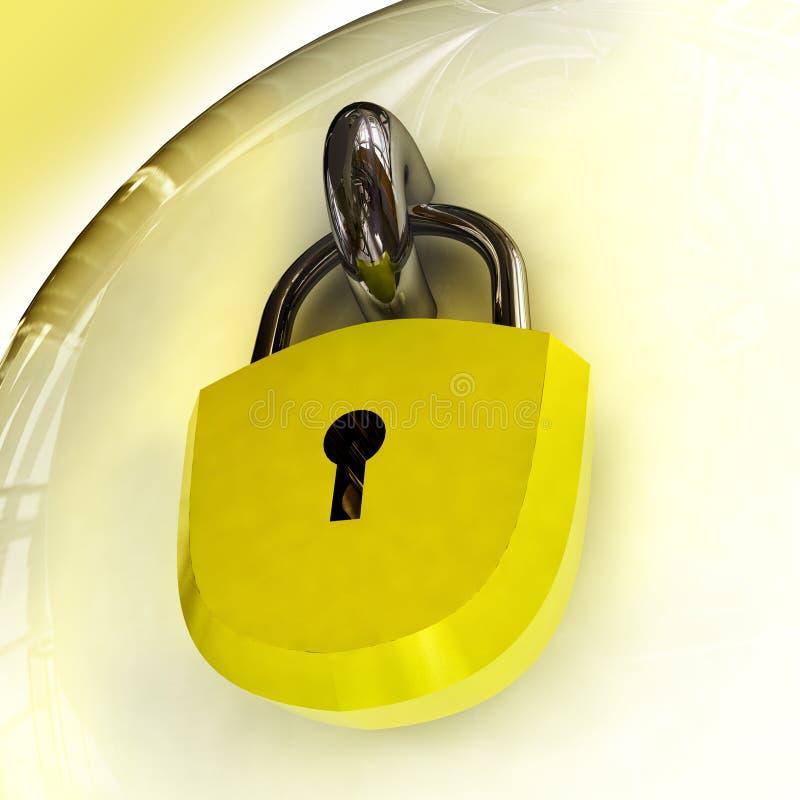 Chiuda in su sulla serratura di obbligazione con il lucchetto illustrazione vettoriale