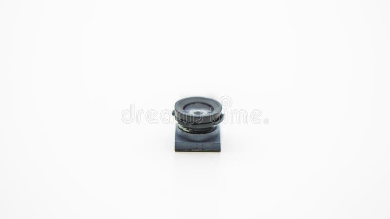 Chiuda su su un modulo della macchina fotografica per il telefono cellulare Primo piano della lente di Smartphone fotografie stock libere da diritti