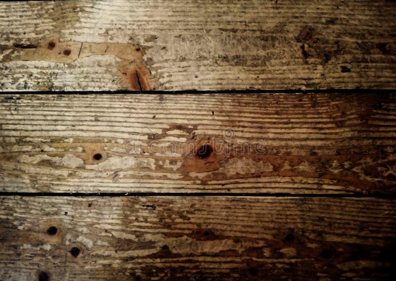 Chiuda su su una pavimentazione di legno invecchiata Vista orizzontale delle plance di legno immagini stock libere da diritti