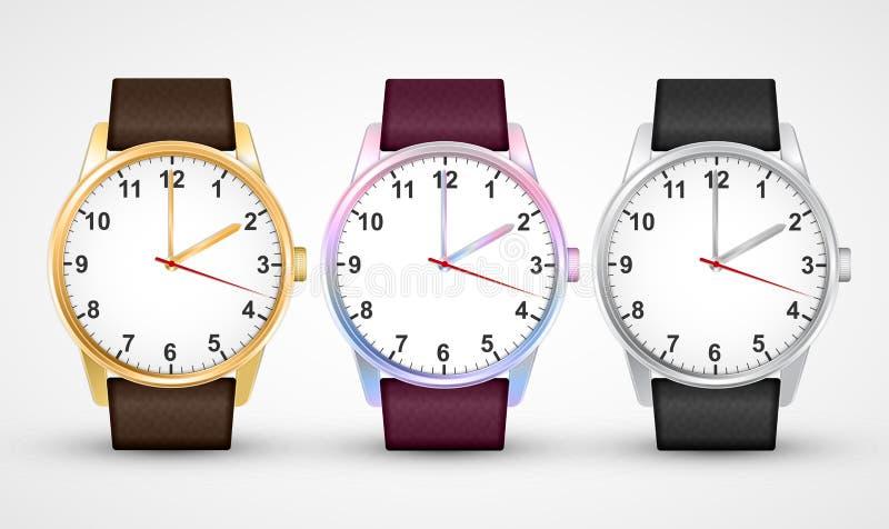 Chiuda su una priorità bassa bianca Insieme classico dell'orologio di progettazione Isolato su bianco illustrazione di stock