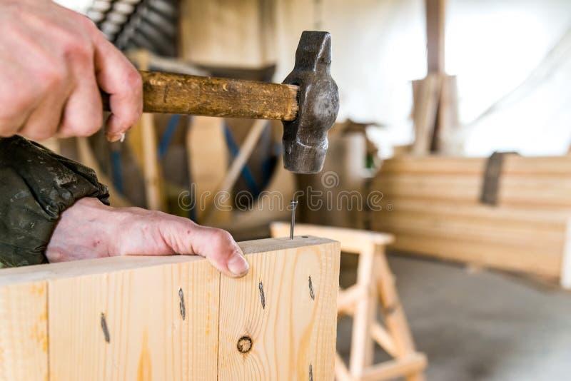 Chiuda sul chiodo dei martelli dell'uomo in fascio di legno immagini stock libere da diritti