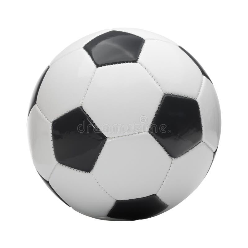 Chiuda sul colpo dello studio di pallone da calcio isolato su fondo bianco fotografia stock