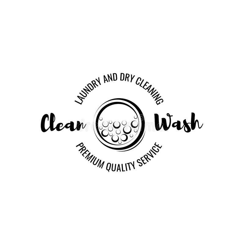Chiuda sul colpo Stanza di lavanderia ed etichetta e distintivo di lavaggio a secco Isolato su bianco illustrazione di stock