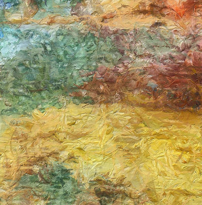 Chiuda sul fondo dell'estratto della pittura ad olio Pennellata strutturata di arte illustrazione vettoriale