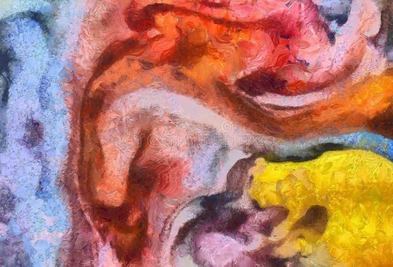 Chiuda sul fondo dell'estratto della pittura ad olio Pennellate strutturate di arte nella macro Parte di pittura Materiale illust royalty illustrazione gratis
