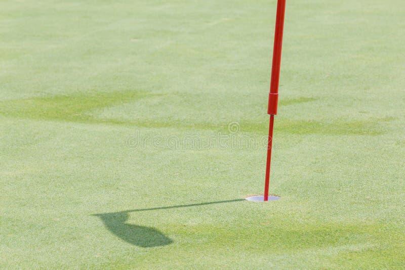 Chiuda sul foro del golf con l'asta della bandiera su erba verde e sulla sua ombra i fotografia stock