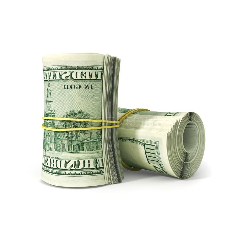 Chiuda sul mazzo di carta Bill Rolled del dollaro con gomma, fotografia stock libera da diritti