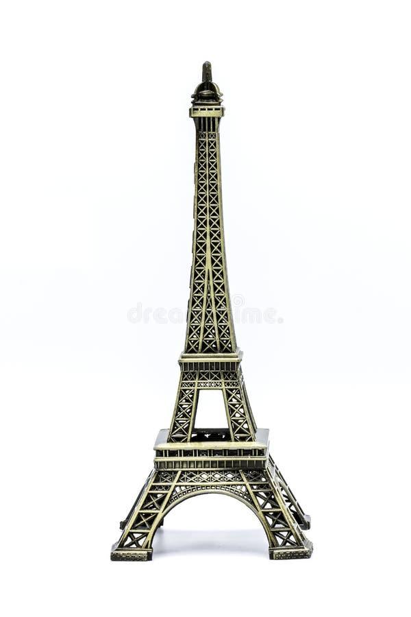 Chiuda sul modello del ricordo della torre Eiffel su fondo bianco immagini stock
