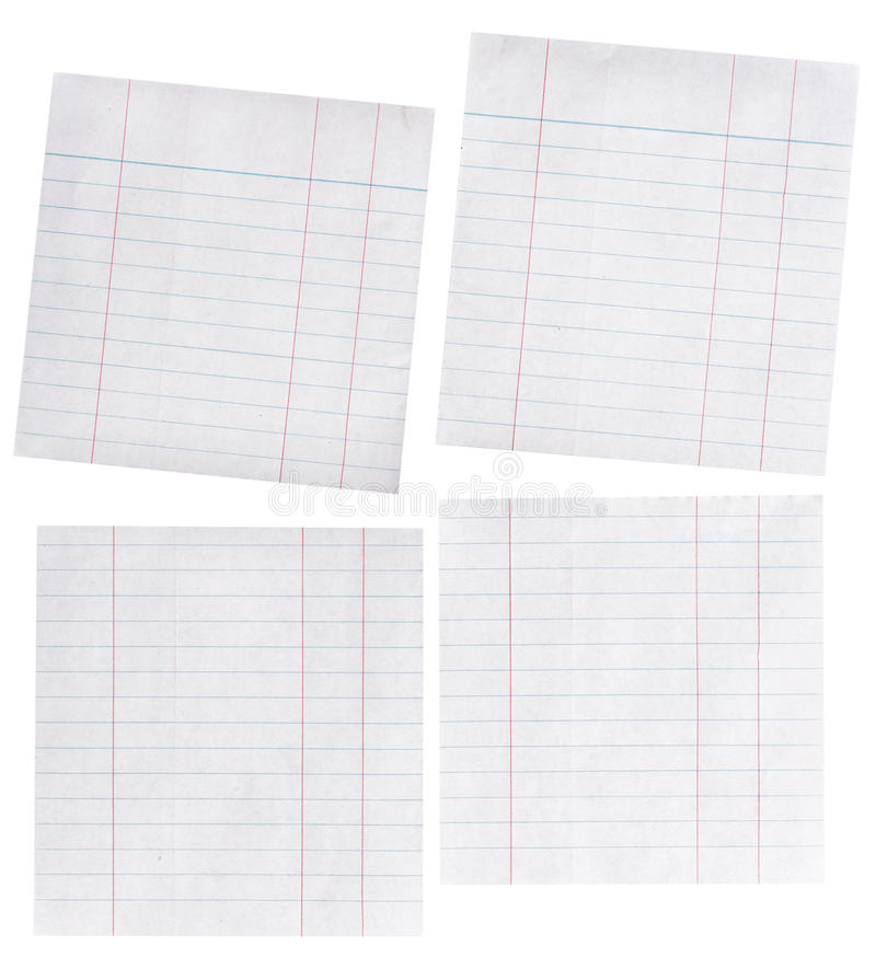 Chiuda sul pezzo di carta allineata isolata su bianco immagini stock libere da diritti