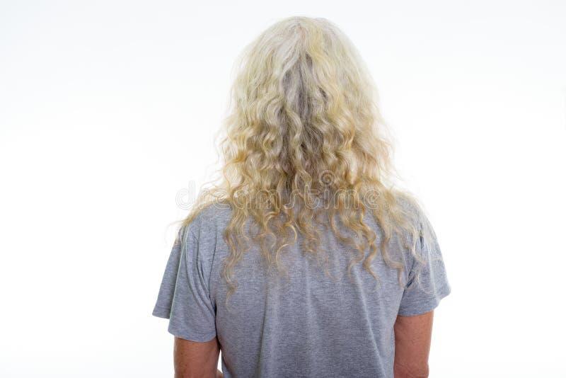 Chiuda sul punto di vista posteriore dell'uomo barbuto senior con la h bianca riccia lunga immagini stock libere da diritti