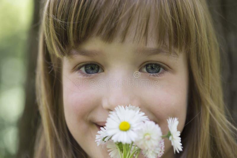 Chiuda sul ritratto di una bambina dolce con i fiori nel suo Han immagini stock