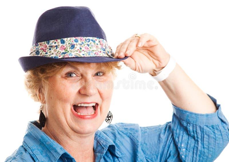 Donna di mezza età - risata felice fotografia stock libera da diritti
