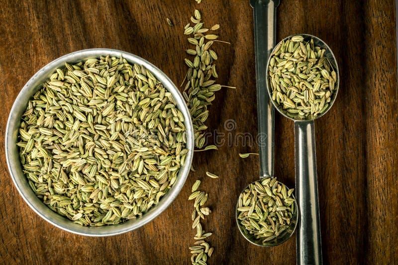 chiuda sul seme di finocchio in cucchiaio sulla tavola di legno marrone fotografia stock libera da diritti