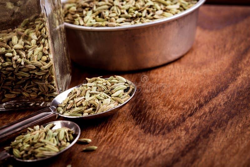 chiuda sul seme di finocchio in cucchiaio sulla tavola di legno marrone fotografia stock