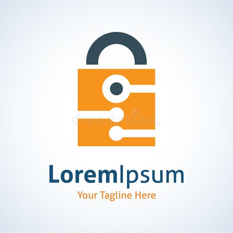 Chiuda sull'icona a chiave di logo della protezione della tecnologia di sistema del meccanismo illustrazione vettoriale