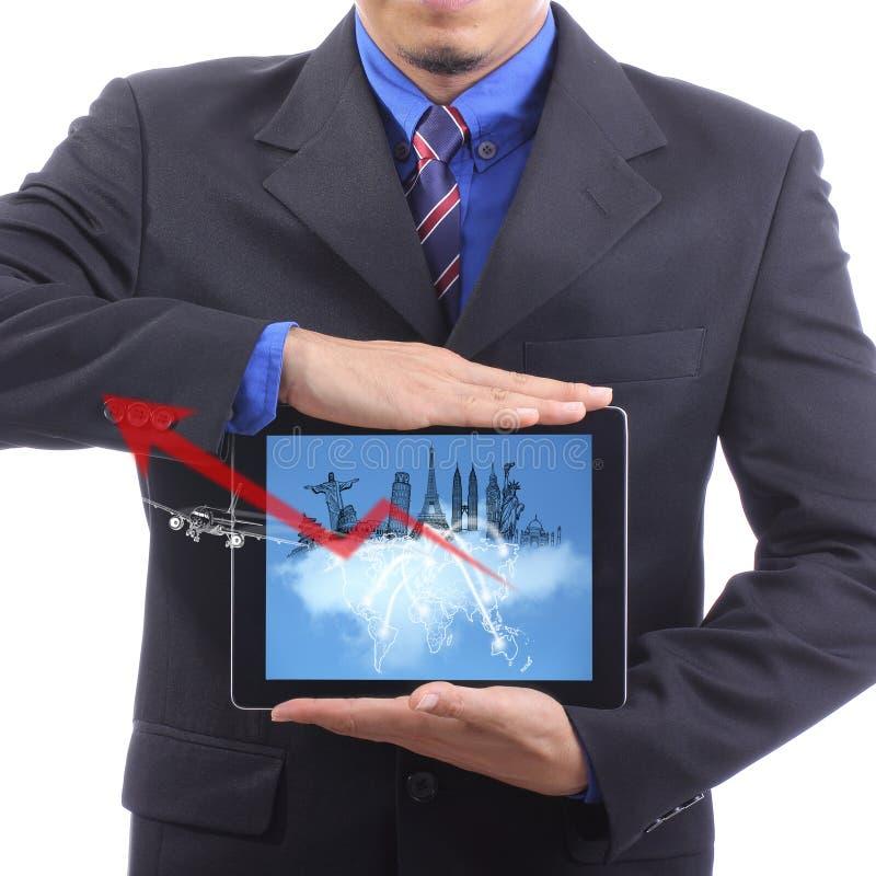 Chiuda sull'uomo d'affari con il concetto del viaggiatore fotografia stock