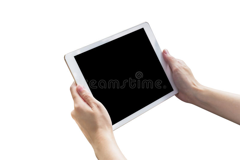 Chiuda sulla compressa e sullo schermo attivabile al tatto della tenuta della donna della mano su w isolato immagini stock