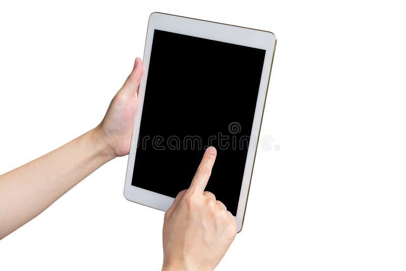 Chiuda sulla compressa e sullo schermo attivabile al tatto della tenuta della donna della mano sull'isolato su immagini stock libere da diritti