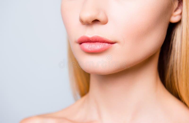 Chiuda sulla foto potata di grandi labbra naturali del ` s della donna senza lipst immagini stock