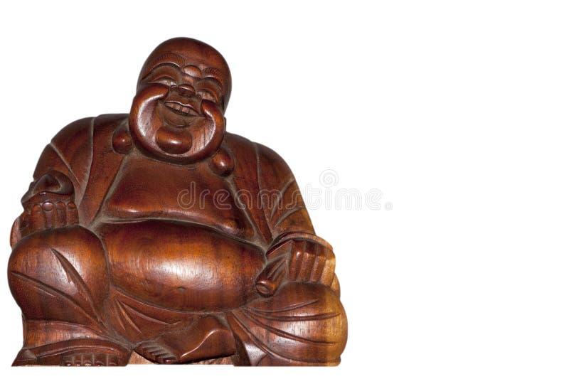 Chiuda sulla statua di Buddah con copyspace bianco fotografia stock libera da diritti