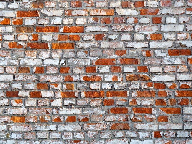 Chiuda sulla struttura del muro di mattoni sbucciato dei colori rossi e bianchi, fondo fotografia stock libera da diritti
