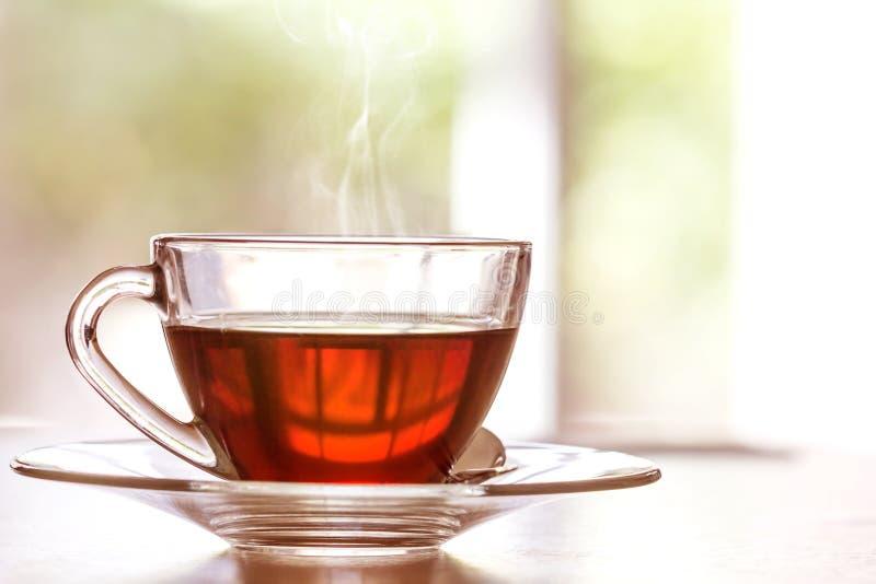 Chiuda sulla tazza di tè nero calda sulla tavola di legno in salone, con riferimento a fotografia stock libera da diritti