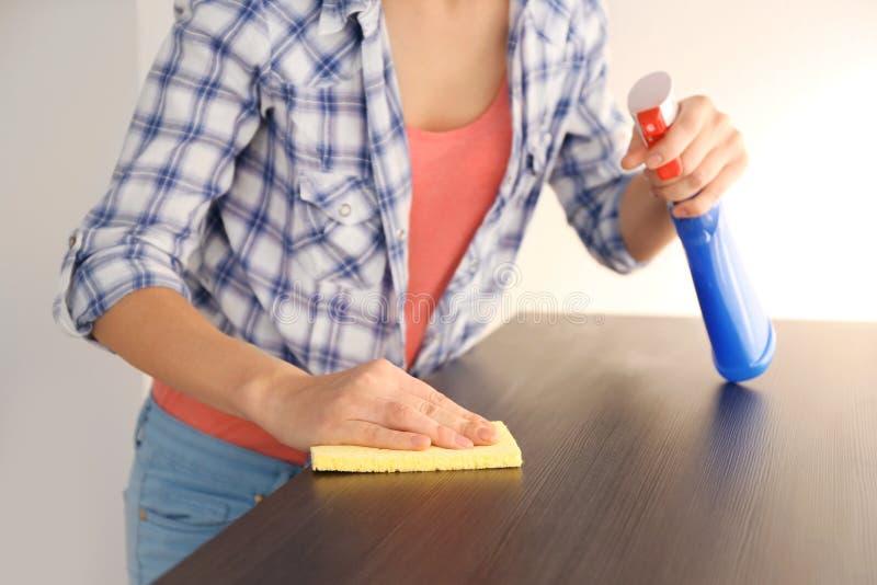 Chiuda sulla vista della mobilia di pulizia della donna fotografia stock libera da diritti
