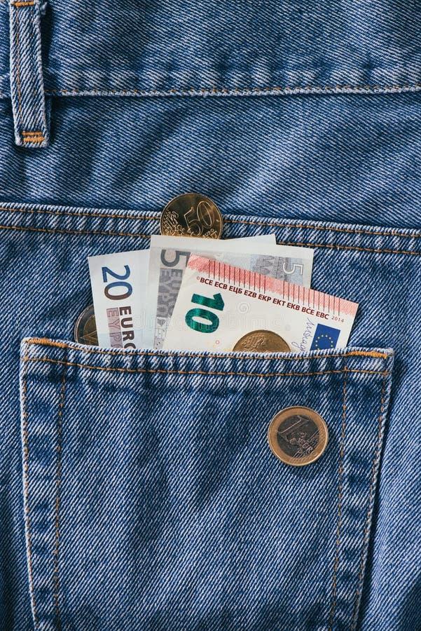 chiuda sulla vista di euro banconote fotografia stock