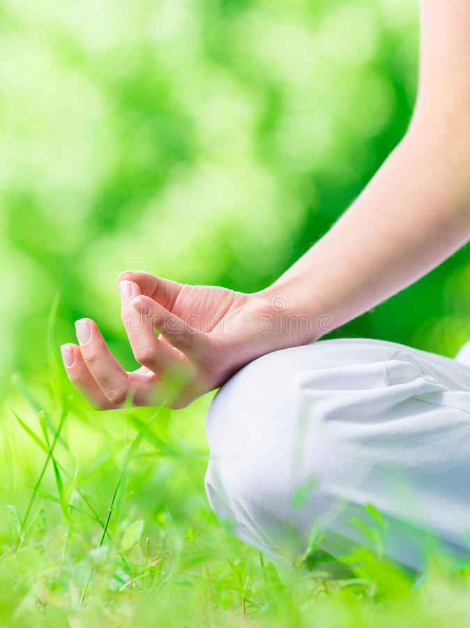 Chiuda sulla vista di gesturing femminile di zen della mano immagine stock