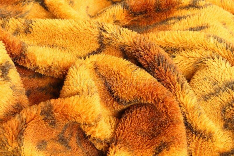 Chiuda sulla vista superiore della coperta sudicia della grinza con la tigre che il modello nel bedroomafter sveglia di mattina fotografia stock libera da diritti